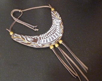 SYDNEY Brown Repurposed Leather Statement Necklace Hand Painted Fish