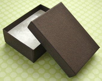Matte Chocolate Brown Jewelry Boxes Cotton Filled 100% Recycled High Quality 3 1/8 x 2 1/4 x 1 inch - 10 Medium
