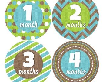Baby Monthly Stickers FREE Baby Month Milestone Sticker Baby Month Stickers Baby Boy Bodysuit Sticker Photo Props Chevron Green Brown 005B