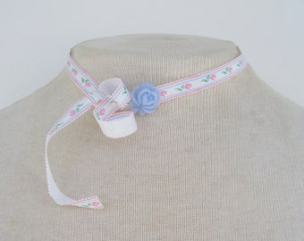 Vintage 1982 Signed Avon Ribbons and Roses Choker Blue Pink Ivory Flower Striped Solid Trio Kawaii Choker Necklace in Original Box NIB
