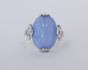 Vintage 1982 Signed Avon Victorian Splendor Silver Tone Cocktail Blue Semi Precious Moonstone Size 6 Ring in Original Box NIB