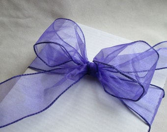 "Purple Sheer Wire Ribbon...2 1/2"" 10 yards"