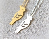 Parrot and Leaves Necklace / choose your color / gold and silver