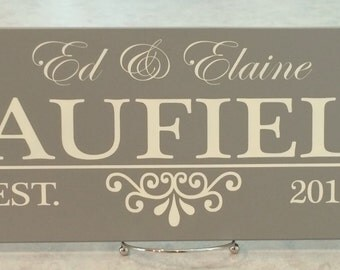 Established Name Sign, Painted Gray Personalized Family Name Sign Plaque, Awesome Custom Wedding / Anniversary / Housewarming Gifts