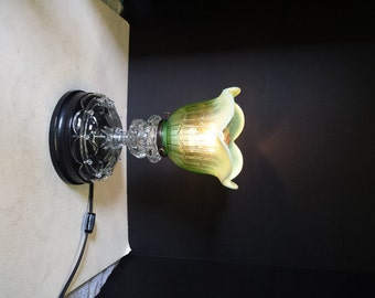 Steampunk Table Lamp, Vintage Parts Table Lamp, Green Table Lamp, Home Lighting