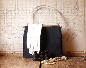 Vintage Black Purse with Lucite Handle  - perfect for your little black dress!