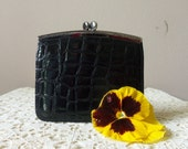 Ladies Change Purse - Vintage Faux Croco - Grab 'n Go 4 Pocket Design - 1950's - 50 to 75 Years Old - Collectible - Gift Idea
