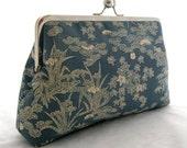 Kimono Clutch Series: Blue Bamboo