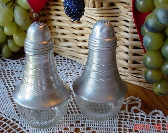 Vintage Glass Aluminum Salt and Pepper Shakers