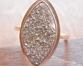 Sterling Silver Druzy Ring, Silver Druzy,Titanium Agate Ring, Sterling Silver Ring, Drusy Ring