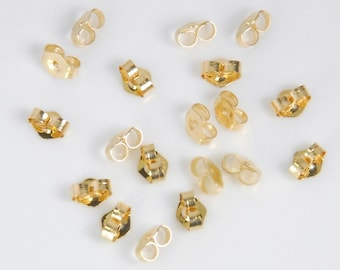 5 pairs, 10 pieces: 14K gold filled earnuts, ear backs, small size, 4x5.5mm