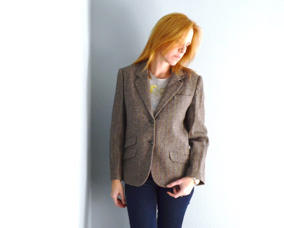 Vintage 70s 80s Charcoal Gray Pinstripe Fitted wool jacket // women's small // size 2/4