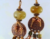 Whimsical Jade Earrings - Antiqued Textured Copper, Bronze Glass Beads, Leaver Back Ear Wires, Butterscotch Waxed Irish Linen