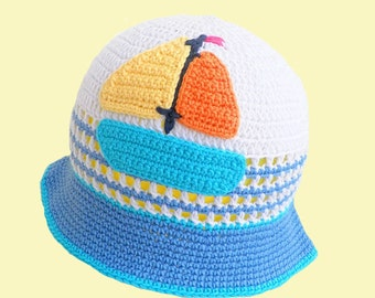 "Crochet baby hat ""Ship"" in white and blue, baby fashion, summer hat, summer  accessory ,READY TO SHIP"