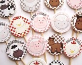 15  Baby Farm Animal Party Picks - Cupcake Toppers - Toothpicks - Food Picks - die cut punch FP457