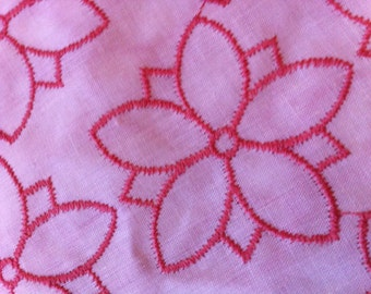 Dark Peach Floral Flower Machine Embroidered Fabric Yardage 2 inch Motif Cream Cotton background Peachy Pink Thread