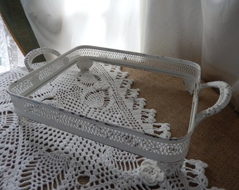 Footed Silver Plate Serving Tray to White Shabby Chic for Weddings/Showers/Parties