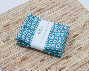Small Cloth Napkins - Set of 4 - (N1892s) - Blue Modern Reusable Fabric Napkins