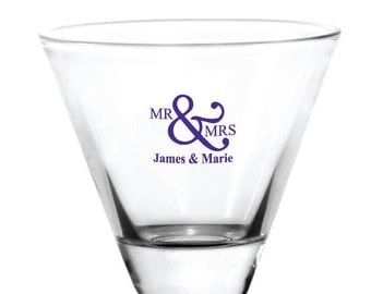 Wedding Favors 96 Personalized 8oz Stemless Martini Glasses Custom Wedding Favor or Great for Bars or Patio Events