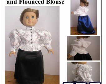Victorian Grand Parlor Skirt and Flounced Blouse PDF Pattern for American Girl Doll -  Instant Download