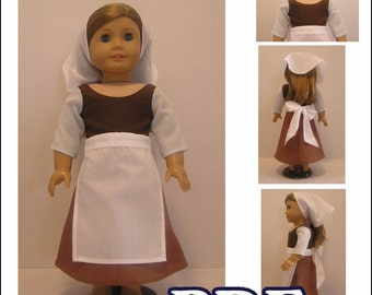 Cinderella Servant Dress, Apron, and Scarf PDF Pattern for American Girl Doll - Instant Download