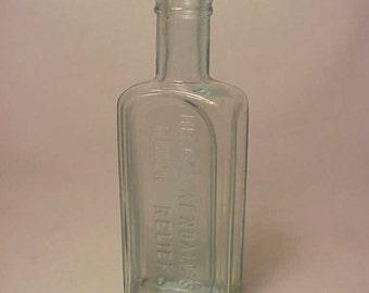 c1890s Dr. B. J. Kendall's Quick Relief Enosburg Falls, VT. , Cork Top Aqua Blown Glass Medicine Bottle