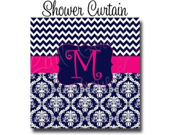 Monogram Shower Curtain, Personalized Shower Curtain, Long Shower Curtain, 70x70, 70x90, or ANY size, Chevron Damask