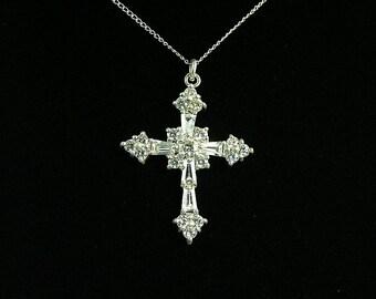 Sterling Silver CZ Cross Pendant   (Item No. 1049)