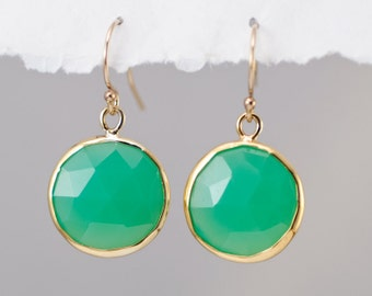 Chrysoprase Earrings - Mint Green Earrings - Round Gemstone Earrings - Gold Earrings - Drop Earrings