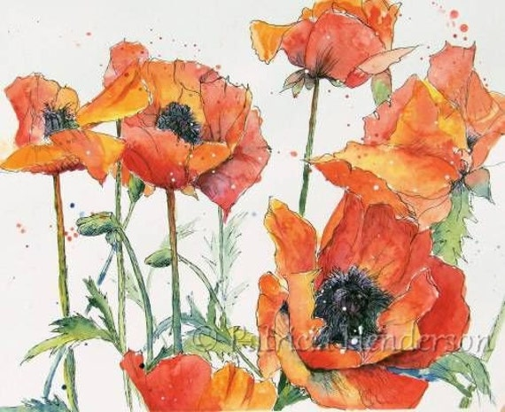 "FIESTA Original 14 x 11"" Watercolor Poppy Painting on paper"