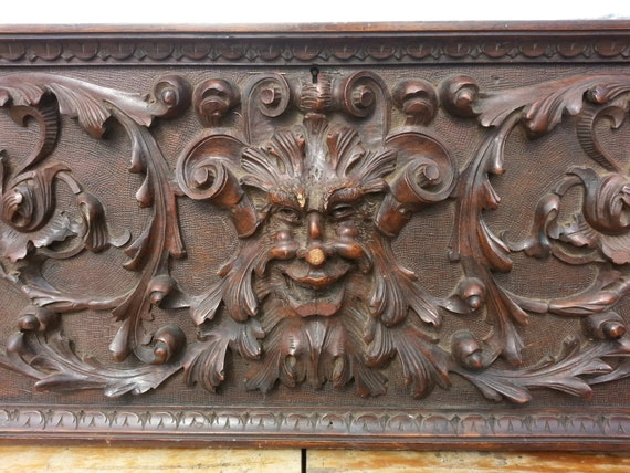 Amazing Antique Wood Carved Panel Northman Face