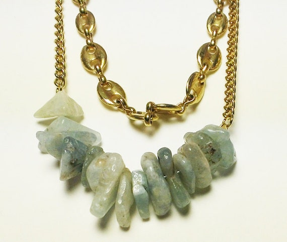 Aquamarine and vintage chains necklace