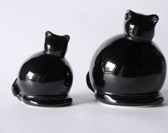 A Pair Of Two Black Cat Figurines  60s