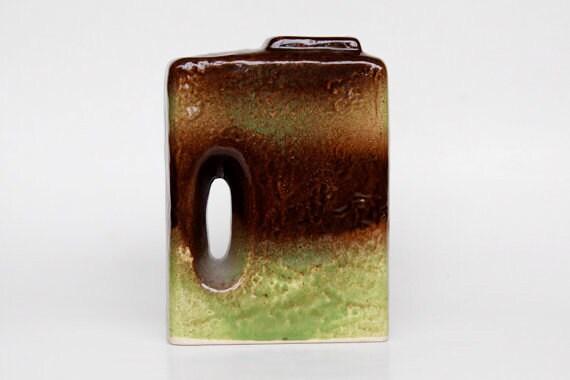 Vintage Green German Architectural Vase  (1) - West Germany  60s