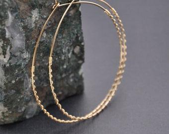 """Gold Textured Hoop Earrings, Large 14K Gold Filled Hoop, Gold Twisted Hoop, Elegant Bohemian Hoop, 2 1/4"""""""