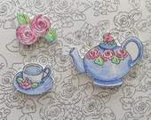 Tea in the Garden, Bunny Teapot, Cabbage Roses, Watercolors, Pen and Ink Art, ACEO