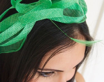 Mini True Mint Fascinator - Flitter-by Mesh True Mint Green Fascinator Headband