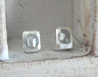 Unisex Rose Cut Diamond -natural diamonds and organic silver pair of delighful stud earrings