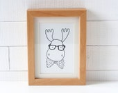 Reindeer with glasses and a bowtie  - Black and white deer postcard - Hipster moose card - Greetings card