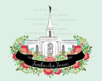 Families Are Forever 16x20 Orlando LDS Temple Instant Download