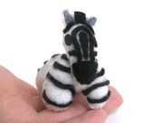 Zebra Plushie Totem--miniature kawaii black and white striped felt plush stuffed animal, African Safari horse