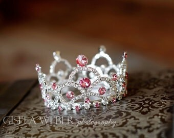 Baby Girl Crown, Pink Newborn Crown, Newborn Prop, Baby Shower Gift, Maternity Photo Prop, Pink Baby Crown, Silver Baby Crown, Cake Topper