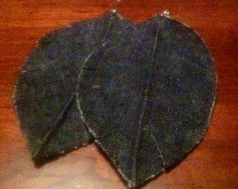 Denim fabric earrings, leaf design.(larger size).