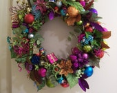 Bright Shiny Glittery Christmas Wreath - Free Door Hanger - FREE SHIPPING!