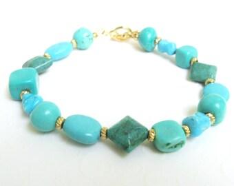 Chunky Turquoise Bracelet, Turquoise Stone Bracelet, Beaded Turquoise Nugget Bracelet, Chunky Turquoise Jewelry