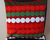 "16"" x 16"" Marimekko Red, Green and White Circles Contemporary Cushion Cover"