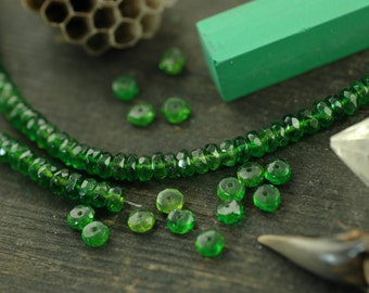 Festive: Chrome Diopside Faceted Rondelle Beads, 10 beads, 4x2mm, Sparkling Natural Green Gemstone, Rare Vibrant Jewelry Making Supplies