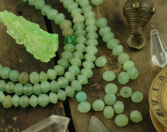 Small Mint Vintage Uranium Vaseline Glass Beads, African Trade Beads, Bohemian, 9x7mm /Rare Tribal Jewelry Making Supplies /5 loose beads