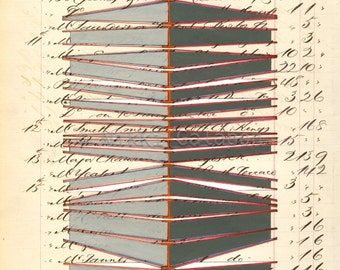 Page 143: original mixed media painting modern art on antique book page structural steel shapes architecture beige grey red black geometric