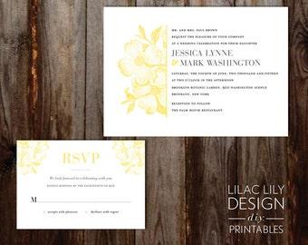 Printable Gray and Yellow Wedding Invitation, Yellow Flower Wedding Invitation, DIY Printable, Script, Digital Invitation
